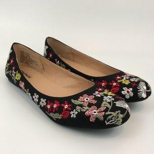 Sonoma Women's Ballet Flats Black Floral Size 9